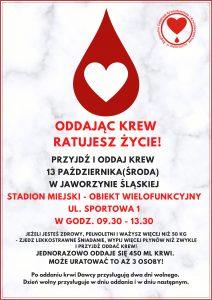 Zbiórka krwi 13 października @ Stadion Miejski w Jaworzynie Śląskiej | Jaworzyna Śląska | Województwo dolnośląskie | Polska
