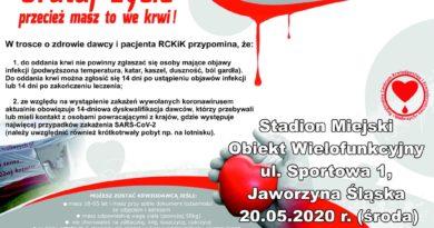 Zbiórka krwi – 20 maja