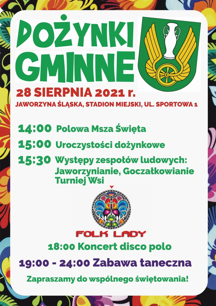 Plakat informacyjny Dożynki Gminne w Jaworzynie Śląskiej 2021